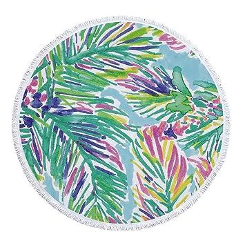 Acuarela algas redondas Toallas con borlas tropicales hojas rosas redondos playa Techos Micro Fibra suave playa wurfs roundie Multicolor verano vacaciones ...