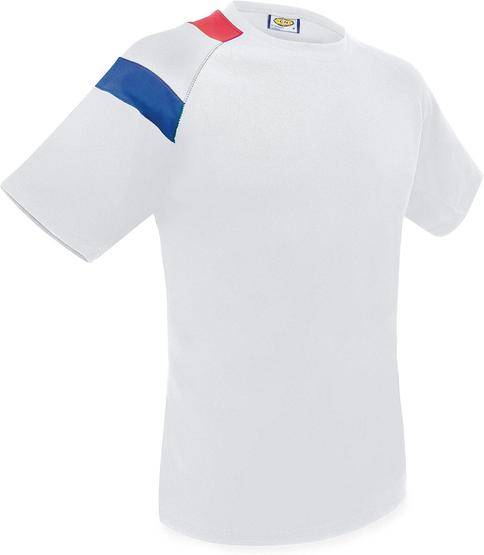 Camiseta Bandera D&F-Camiseta Blanca con los Colores de FRACIA- Discreto diseño de Bandera al Hombro.: Amazon.es: Ropa y accesorios