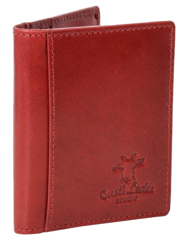 Porte-cartes - Gusti Cuir studio Hal porte-cartes de crédit étui cartes porte-cartes de visite homme femme cuir de buffle rouge 2A122-33-3