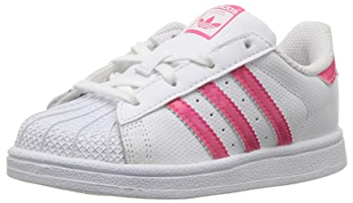 adidas Originals Baby Superstar I, White/Real Pink/White, 4 M US