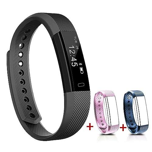 NAKOSITE SB2433 Montre connectée sport, Bracelet connecté, Podomètre, tracker d'activité, Calcul calories brûlées, moniteur de sommeil, Distance, Montre de Sport. Se connecte UNIQUEMENT aux iPhones et