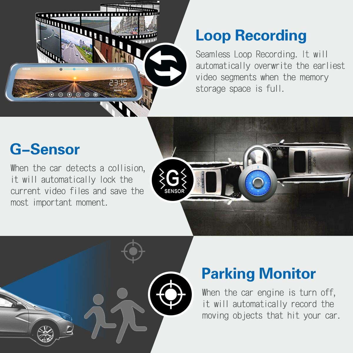 Mirror Dash Cam 9.66'' Dual Lens Full Touch Screen Stream Media Rear View Mirror Camera Made of Aluminum Alloy, 1080P 170°Front and 1080P 140°Backup Camera with Parking Monitor and G-Sensor by CHICOM (Image #5)