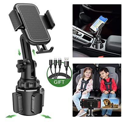 LUKKAHH Car Cup Holder Phone Mount,Universal Adjustable Cup Phone Holder Cradle Car Mount with Upgraded Cup Base for iPhone 11 Pro/XR/XS Max/X/8/7 Plus/6s/Samsung S10 /Note 9/S8 Plus/S7 Edge(Black)