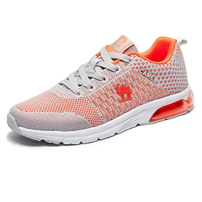 brand new 241c9 73867 CAMEL Women Air Cushion Running Shoes Lightweight Bbreathable Fashion  Flyknit Athletic Sneaker for Walking Gym (