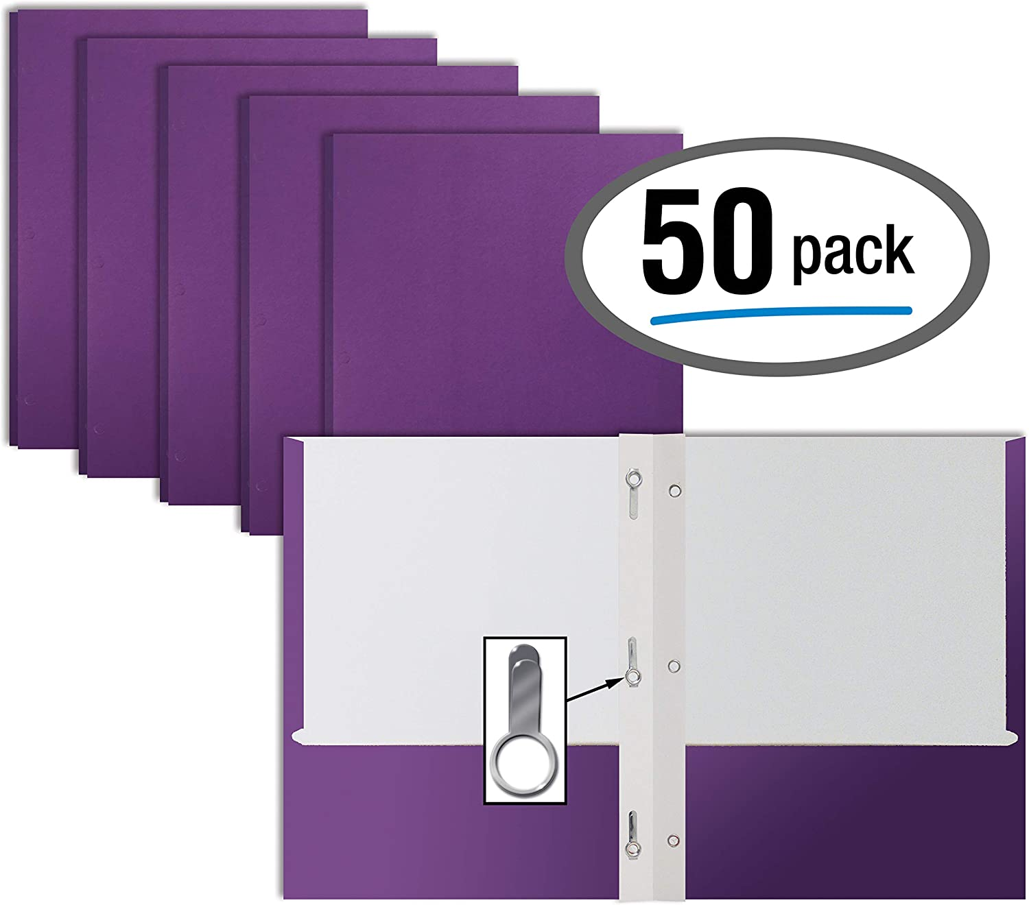 Purple Paper 2 Pocket Folders with Prongs, 50 Pack, by Better Office Products, Matte Texture, Letter Size Paper Folders, 50 Pack, with 3 Metal Prong Fastener Clips, Purple