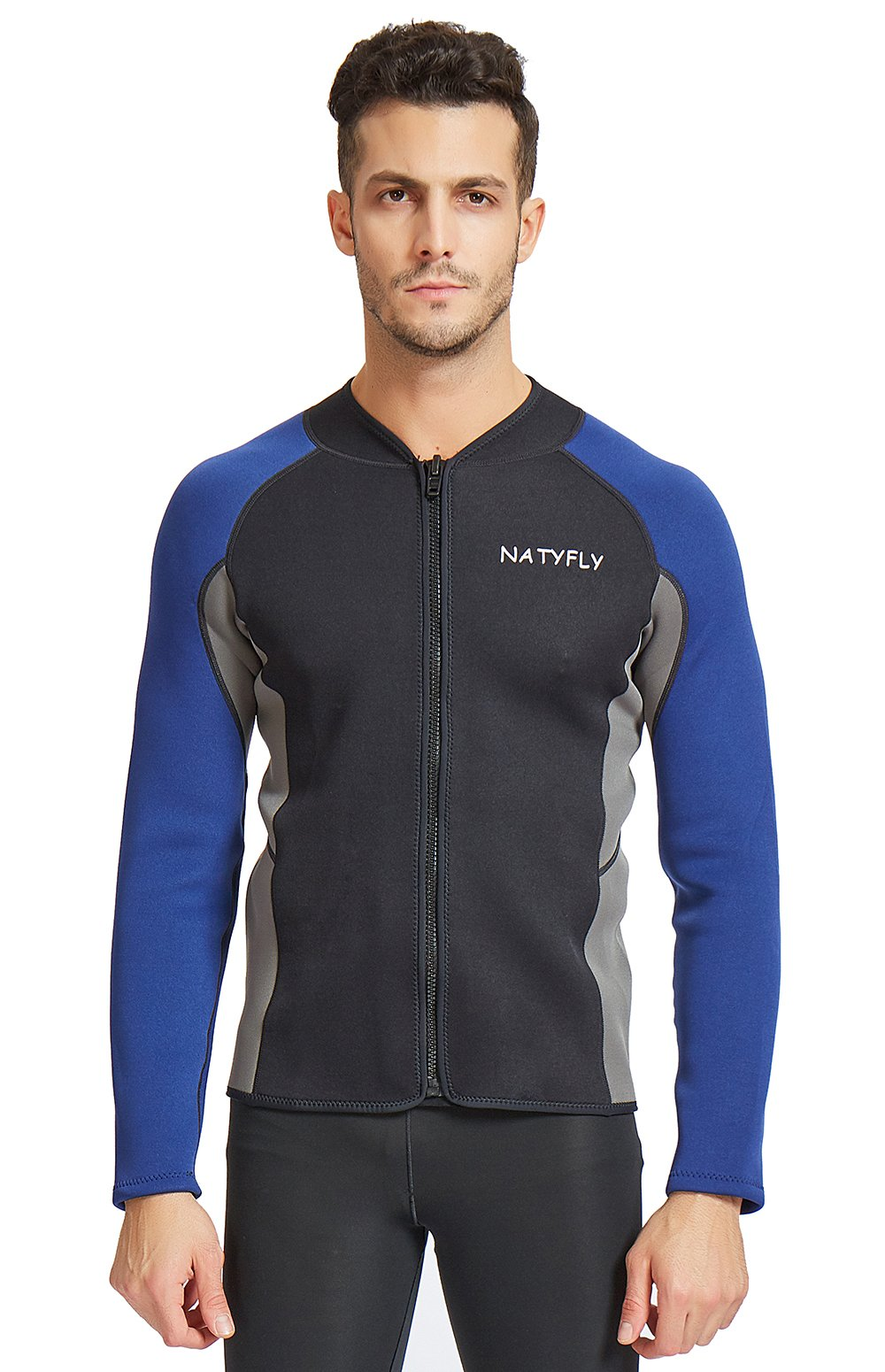 OUTYFUN Mens Wetsuit Jacket,2mm Neoprene Wetsuits Top for Men Long Sleeve Front Zip Wet Suit (Blue, Medium) by OUTYFUN