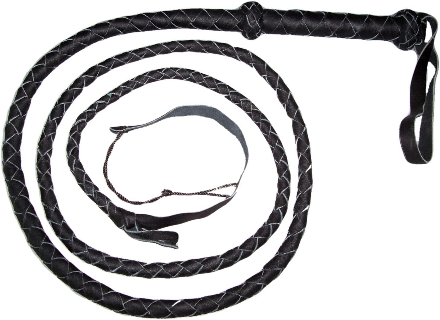 """Black Plaited Deluxe Real  Genuine Leather Whips with Loop Handle Red Tip 8Ft8/"""""""