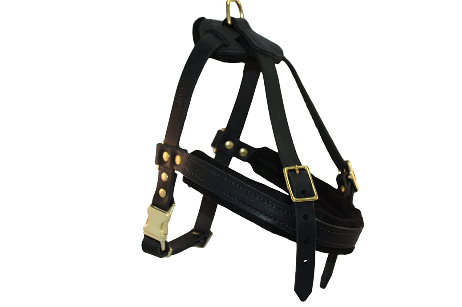 Angel Pet Supplies Inc. Leather Dog Harness, Small, Black (Aspen), 100% Genuine English Bridle Leather, For Breeds 3050 lbs. Chest  2631 in, Neck 1824 in, Chest Strap 19