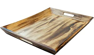 """EZDC Extra Large Coffee Table Tray, Wooden Tray Light Brown, Ottoman Tray, 20 x 15.5"""" Modern Esthetic Decorative Serving Tray with Handles for Drinks and Food"""