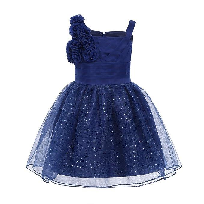 Freebily Vestido Brillante de Fiesta Boda para Bebé Niña Vestido de Princesa Navidad Flores Azul Marino