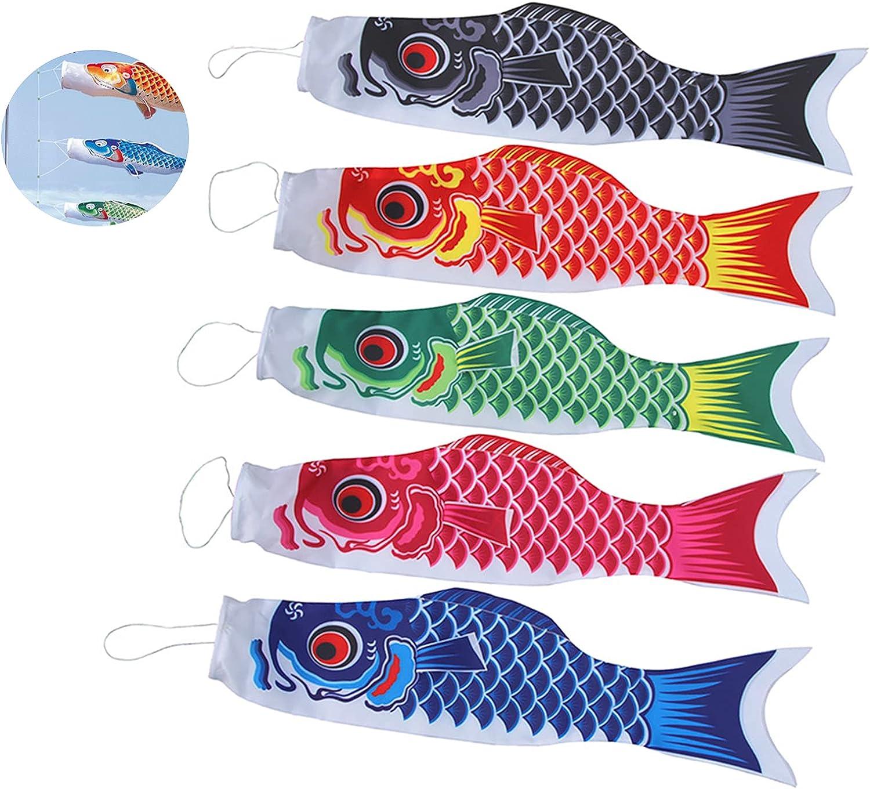 N\Y 5 Pieces Wind Socks Outdoor Hanging, Wind Socks and Spinners Fish Flag Kite Carp Streamer Japanese Carp, Hanging Decor for Japanese Sushi Bar Izakaya Room