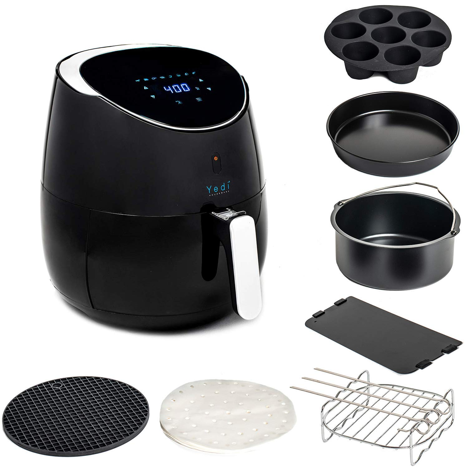 Yedi Total Package Air Fryer, Deluxe Accessory Kit, 100 Recipes Included, Cooking Basket Divider, 2Yr Warranty. Healthy Air Crisper Oiless Oven (3.7 Qt)
