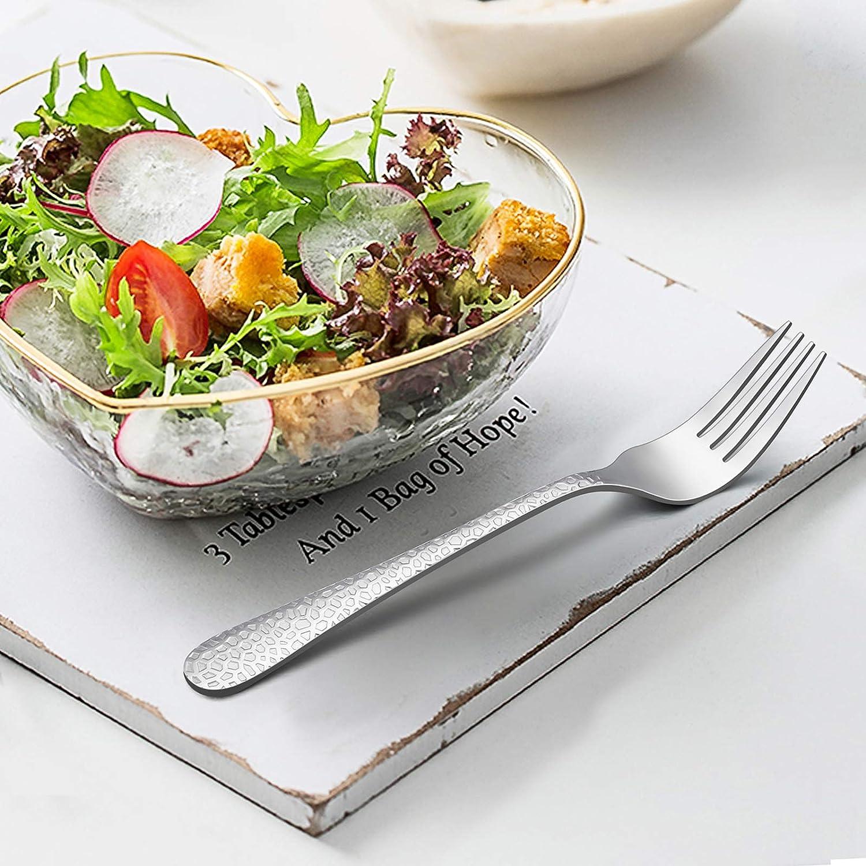 Hammered Pattern LIANYU Salad Appetizer Forks Set of 12 Stainless Steel Flatware Silverware Dessert Forks Mirror Finish Dishwasher Safe