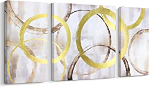 Pigort Abstract Contemporary Wall Art Gold Foil Interlaced Circles Big/Large Wall Decor Stretched on Wood