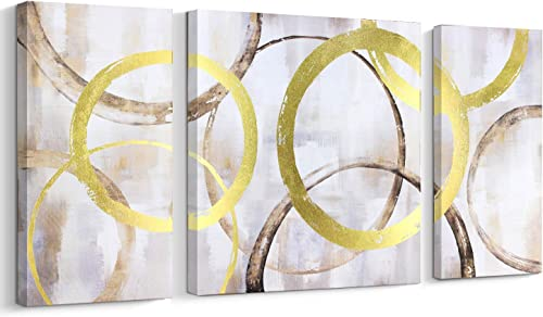 3 Piece Canvas Print Abstract Contemporary Wall Art Gold Foil Interlaced Circles Big/Large Wall Decor Stretched on Wood 3 panles,28×56 Inch