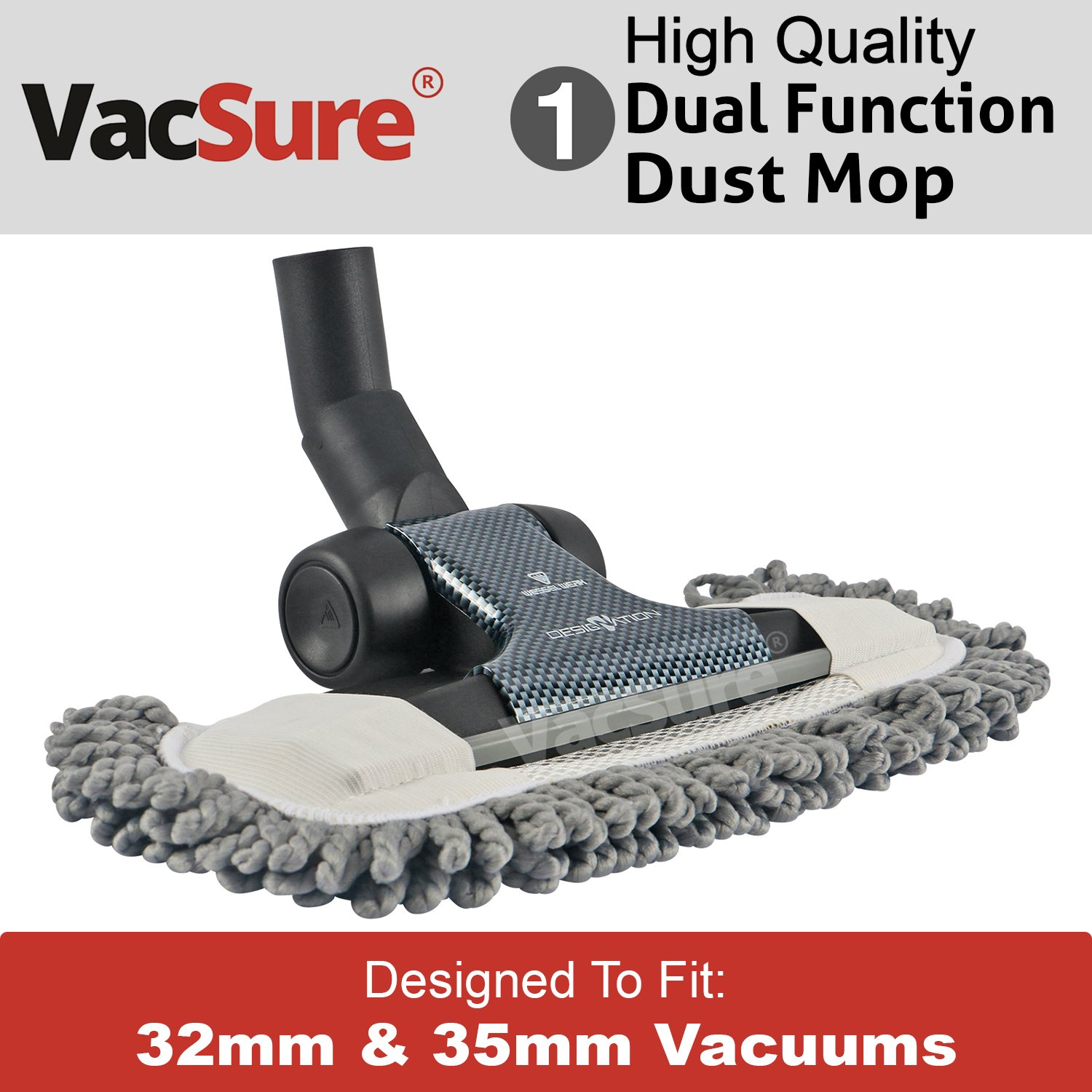 Premium Microfiber Hard Floor Dust Mop Vacuum Attachment, Fits Most Vacuum Cleaners, By VacSure