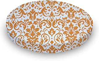 product image for SheetWorld Round Crib Sheets - Gold Damask - Made In USA