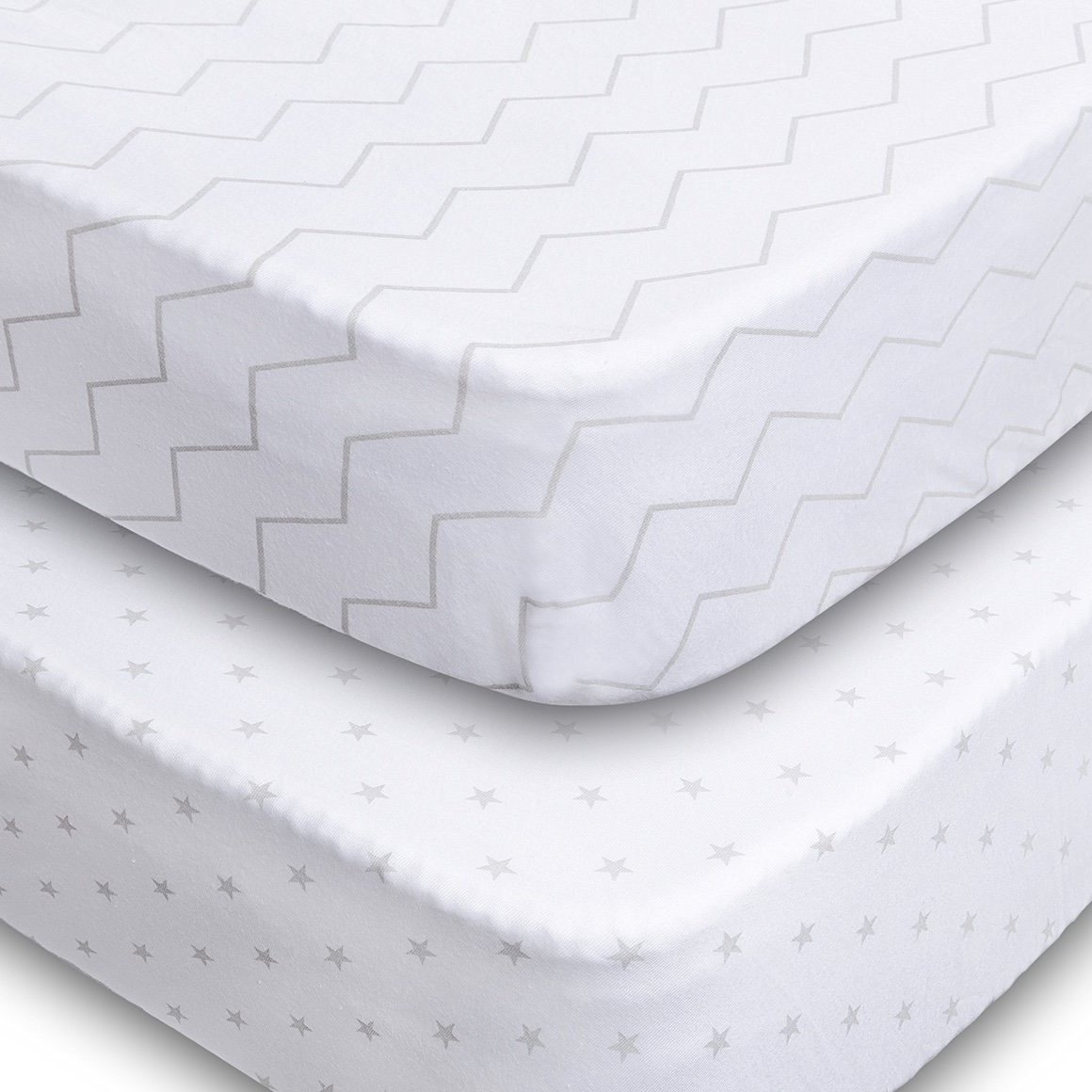 Crib Sheets - 2 Pack Fitted 100% Soft Jersey Cotton Sheet - Bedding with Unisex Chevron & Stars Custom Design - Fits Standard Mattress for Babies & Toddlers - Perfect Baby Shower Gift for Boys & Girls Jomolly