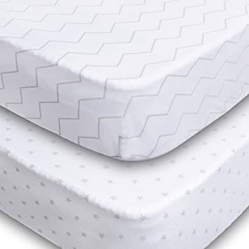 Crib Sheets 2 Pack Fitted Soft Jersey Cotton Sheet Bedding With Unisex Chevron And