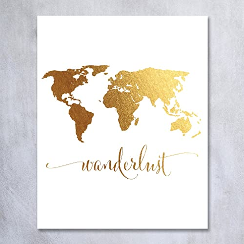 Amazon wanderlust world map gold foil art print travel world wanderlust world map gold foil art print travel world traveler poster modern art contemporary metallic wall gumiabroncs Images