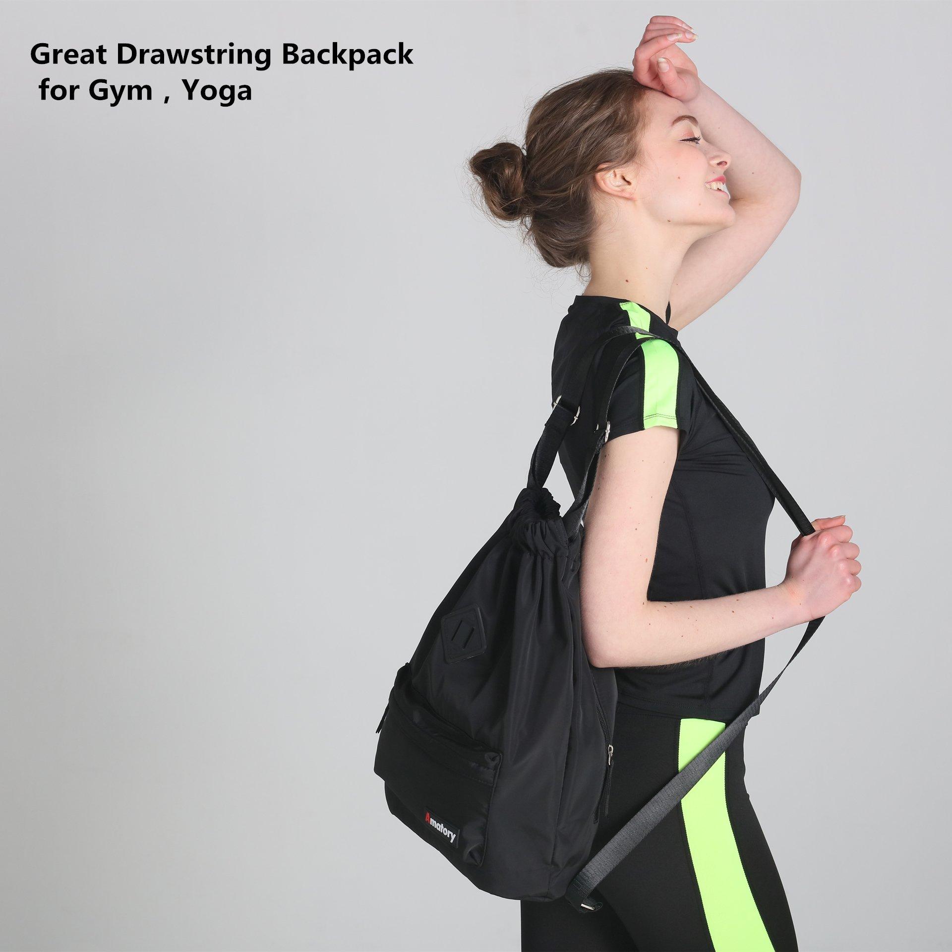 237f4af028e1 Drawstring Backpack String Bag Sports Waterproof Sackpack Gymsack Gym Cinch  Sack (Black) - A-1908-Black   Drawstring Bags   Clothing