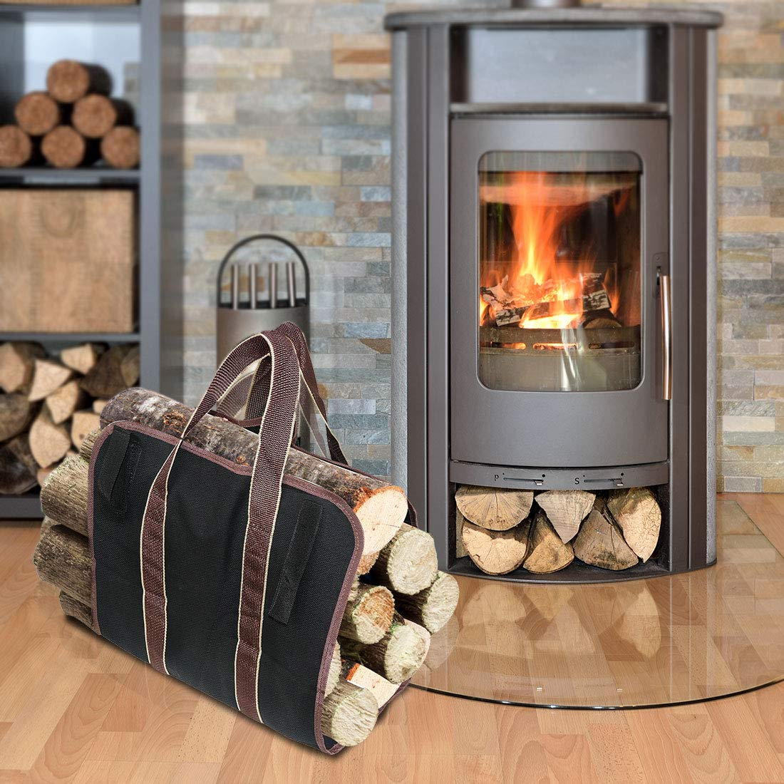 LingsFire Log Carrier Firewood Tote Wood Carrying Bag Fireplace 16oz Canvas Wood Tote Bag Extra Large Firewood Holder with Handles Fireplace Wood Stove Accessories for Camping Beaches (Black) by LingsFire (Image #7)
