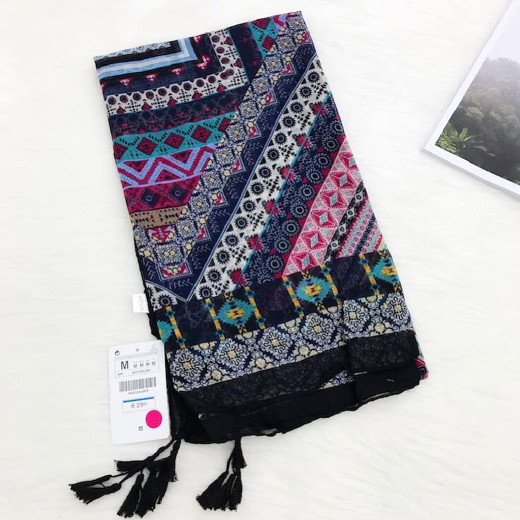 100x180cm Junlinto Donna Ethic Geometric Grande Sciarpa Scialle Nappa Boemia Hijab Pashmina Elegante 39.37x70.87in 4