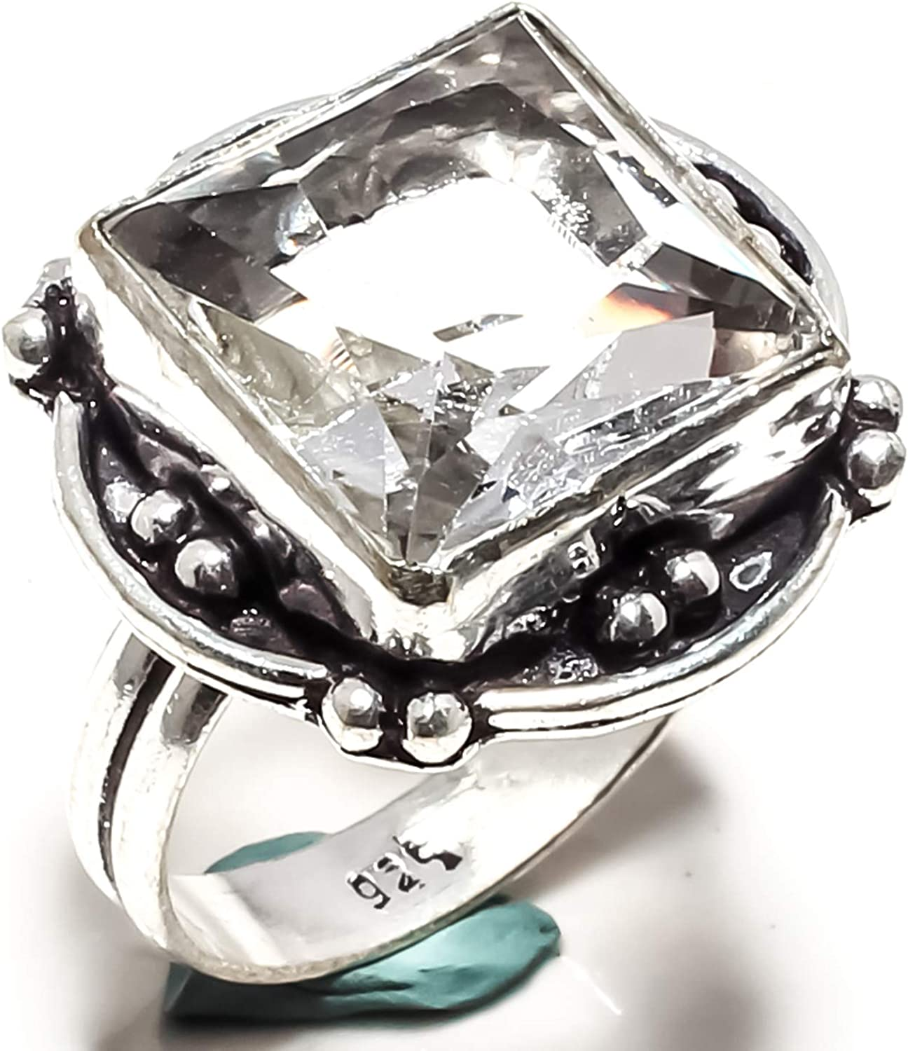 - 8.75 US SF-1842 jewelsworld White Topaz Gemstone Ring Handmade 925 Sterling Silver Plated Jewelry -Statement Ring - - Ring Size