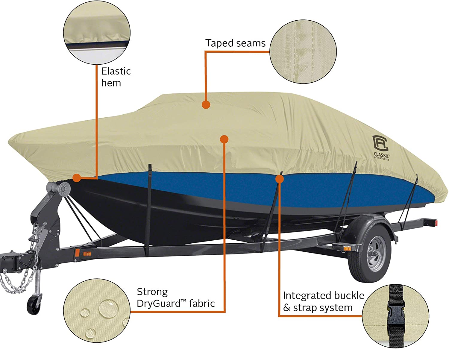 Classic Accessories DryGuard Heavy Duty Waterproof Boat Cover For Bass Boats 14-16 L Up to 90 W