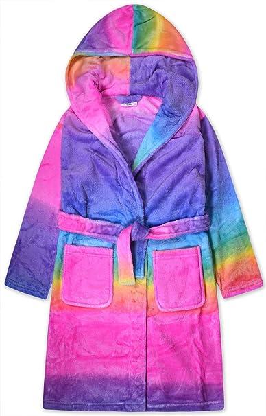 JollyRascals Girls Unicorn Dressing Gown Kids New Neon Rainbow Hooded Fleece Robe Soft Touch Bathrobe Blue Nightwear Ages 2 3 4 5 6 7 8 9 10 11 12 13 Years