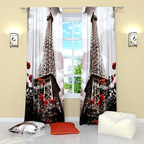 Factory4me Paris Curtains Paris Luxury. Window Curtain Set of 2 Panels Each W52 x L96 Total W104 x L96 inches Drape