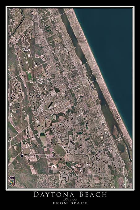 Map Of Florida Showing Daytona Beach.Amazon Com Terra Prints Daytona Beach Florida Satellite Poster Map