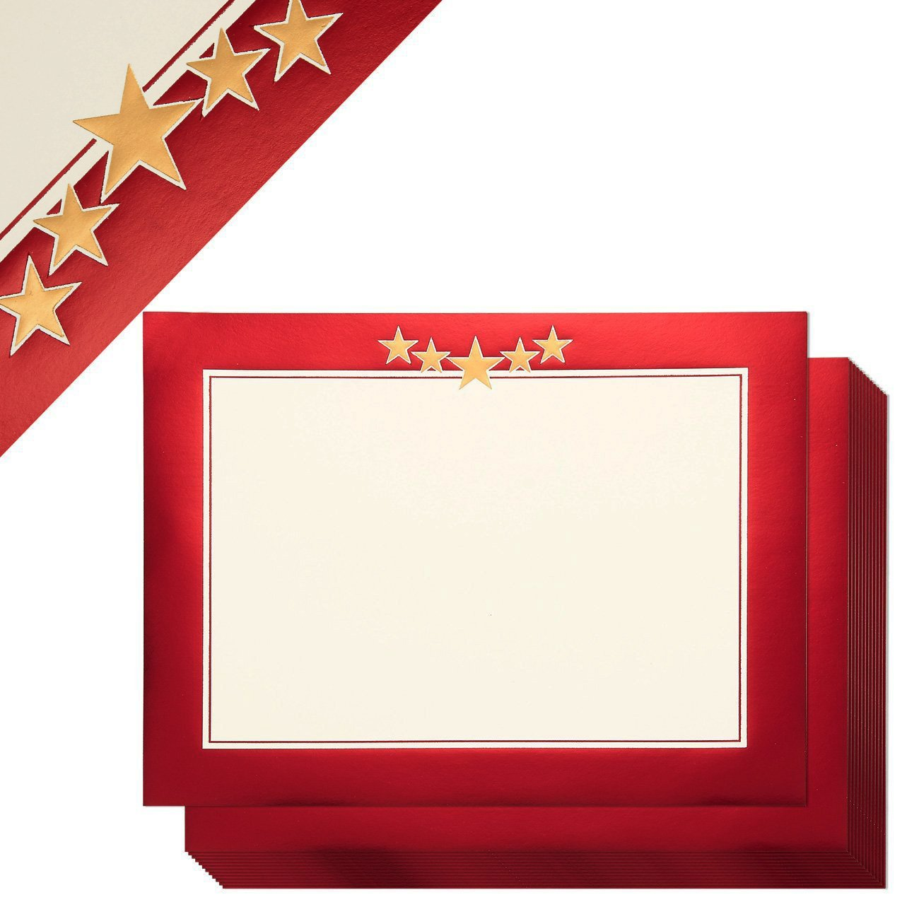 24-Sheet Certificate Paper - Letter Size Blank Award Certificates Paper, Metallic Red Border Specialty Diploma Paper, Laser and Inkjet Printer Friendly, Red, 8.5 x 11 inches