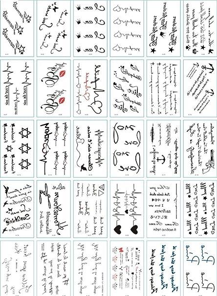 30 juegos de 1 línea simple texto inglés ECG símbolo tatuaje ...