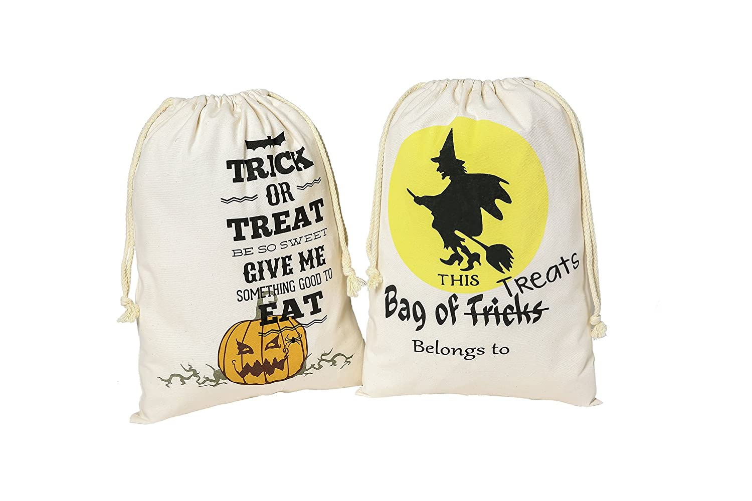 PJS-MAX Halloween Candy Bags Natural Cotton Material Fastened Thread Bear 44 Ibs with Drawstring Pattern 1 and 2 by PJS-MAX B01IKDR1Z0 Pattern 1 and 2 Pattern 1 and 2