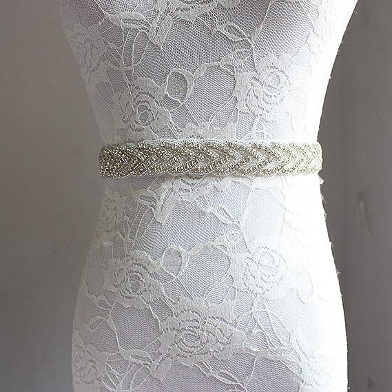 Women Wedding Satin Rhinestone Dress Waist Belt Bridal Ribbon Sash Waistband New Bduco