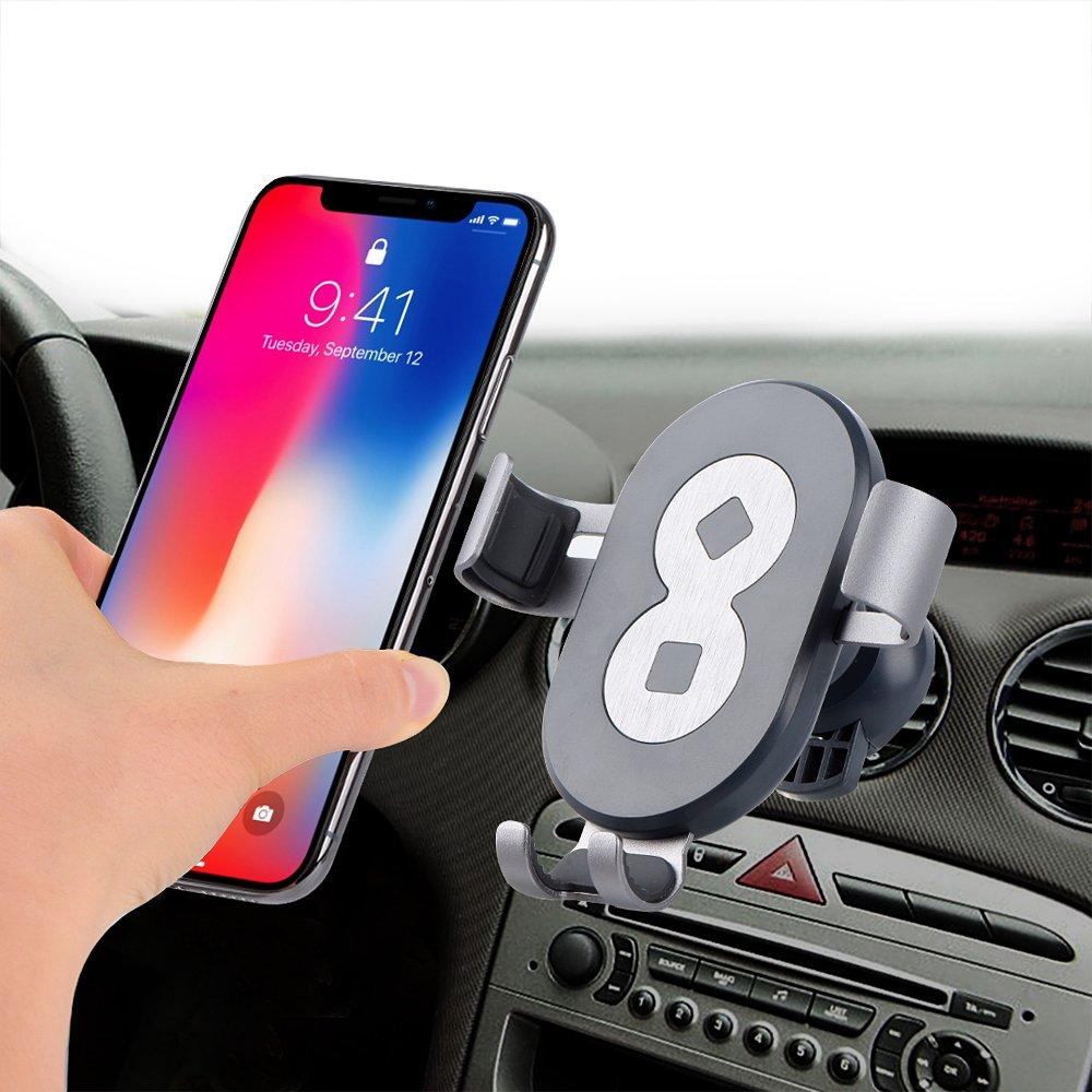 Car Mount, Asscom Universal Car Air Vent Mount Holder Cradle - Compatible with All Smartphones Apple iPhone X 8 8P 7 7P 6s 6s P 6 6P 5S 5C 5 4S 4- Samsung Galaxy S3, S4, S5, LG, G2, Motorola Moto X Droid HTC One, Nexus 5 (UK4 5691G)