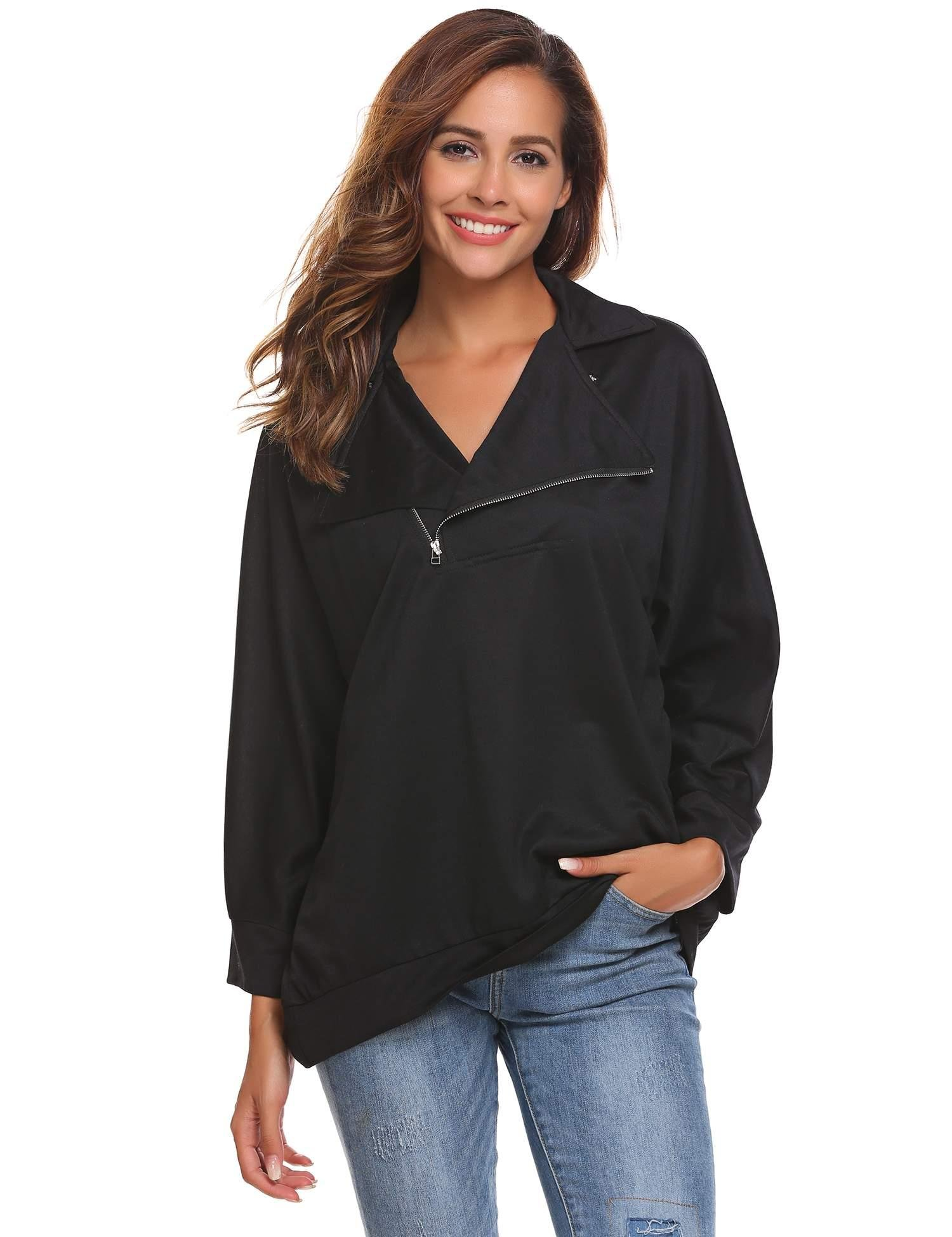 Zeagoo Women's Sexy Long Loose Sleeve Loose Pullover Casual Top Blouse T-Shirt Black XL