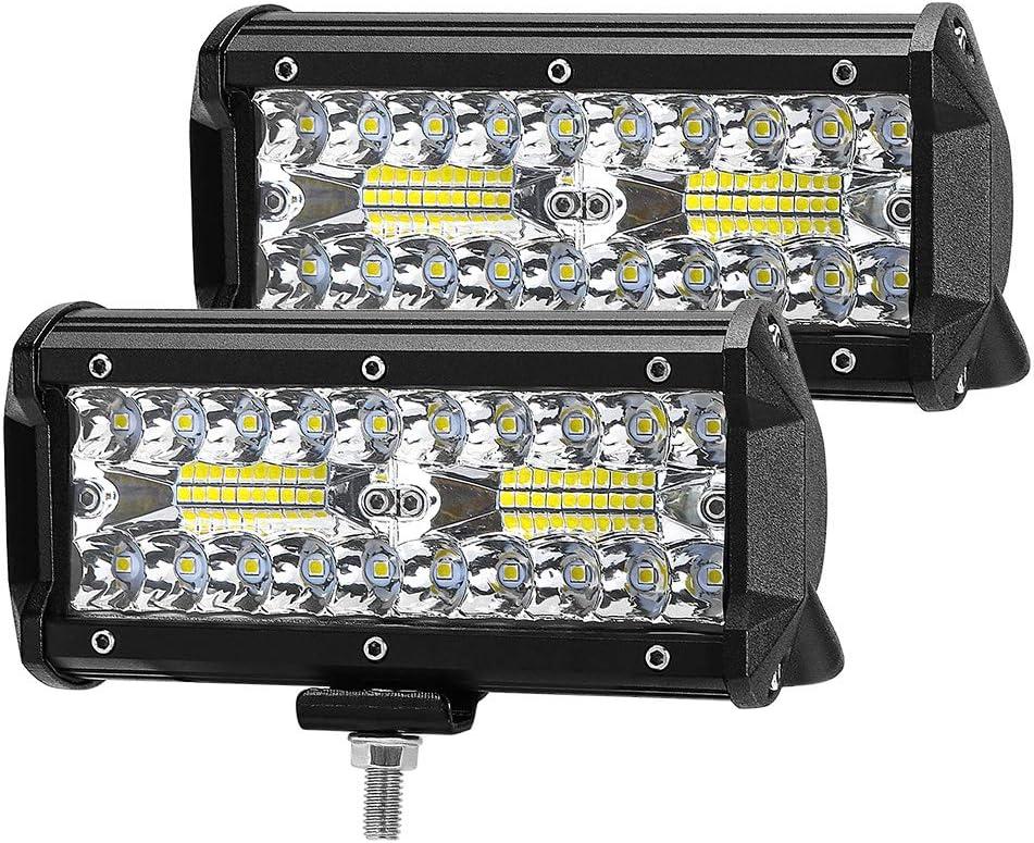ZREE Faros de Trabajo Led, 7 Pulgadas 120WFocos LED Tractor 2pcs 12V-24V Barra LED IP67 Impermeable Luz de Niebla para Coche,SUV, UTV, ATV, Off-road,Camión,Moto,Barco