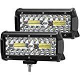 120W Focos de Coche LED 7 Pulgadas, 2pcs Superbrillantes LED Faros de Trabajo, Luz de Niebla de Conducción IP67 Para SUV, ATV, Barco, etc. [Clase de Eficiencia Energética A +]