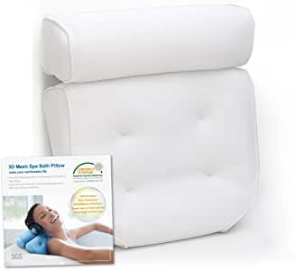 Breathable 3D Mesh Spa Bath Pillow with 4 Suction Cups, Neck & Back Support - Home Hot Tub Jacuzzi Spa Pillow - White