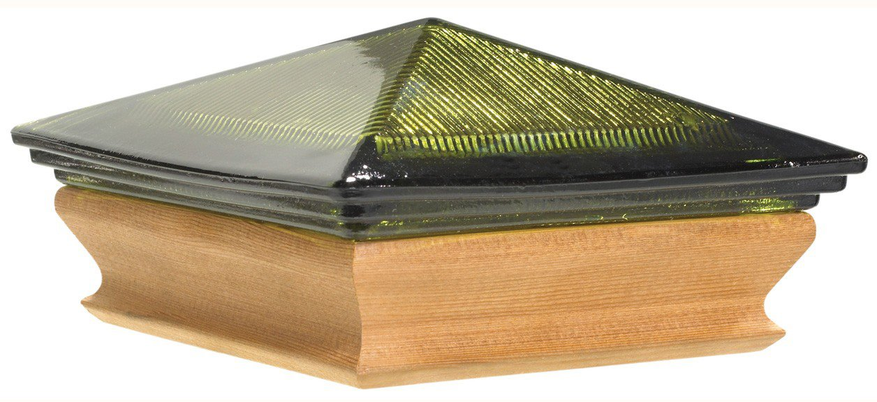 Woodway Products 870.3350 4-by-4-Inch Cedar Trimmed Glass Pyramid Post cap, 12-Pack, Cedar/Green