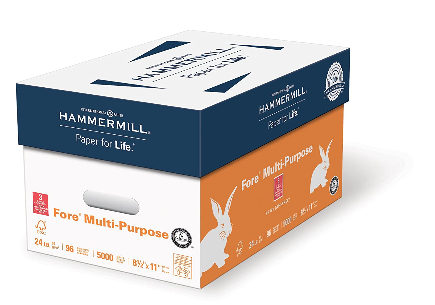 Hammermill Printer Paper, Fore MP Copy Paper, 24lb, 8.5 x 11, Letter, 96 Bright - 2,000 Sheets/Express Pack (no ream wrap) (163122C)