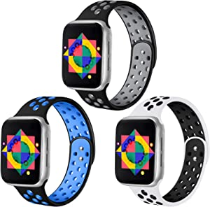 ilopee Bands Compatible for Apple Watch 40mm Series 6 Series 5 4 Women Men - Silicone Breathable Strap Wristbands for iWatch 38mm Series SE 3 2 1, 3 Pack of Black/Blue Black/Gray White/Black, M/L