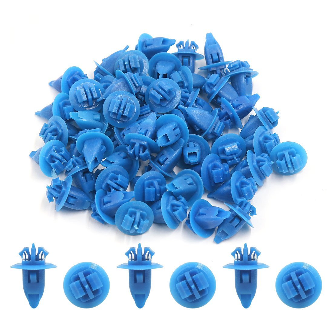 Amazon.com: eDealMax Clips 50Pcs remaches de plástico de ruedas Ala Fender llamarada Azul guarnecido del paso de Molduras DE 8 x 11 mm: Automotive