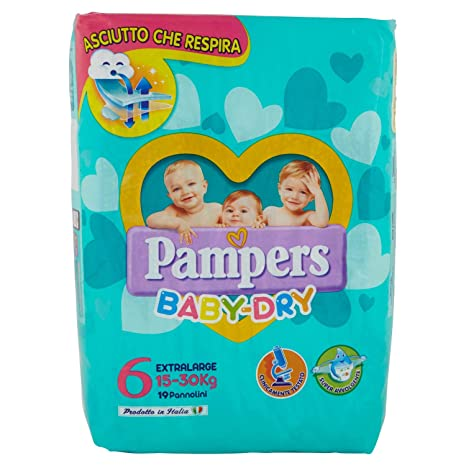 Pampers Baby Dry Nappies-Extra Large - Pañales para bebés, talla extragrande, 19