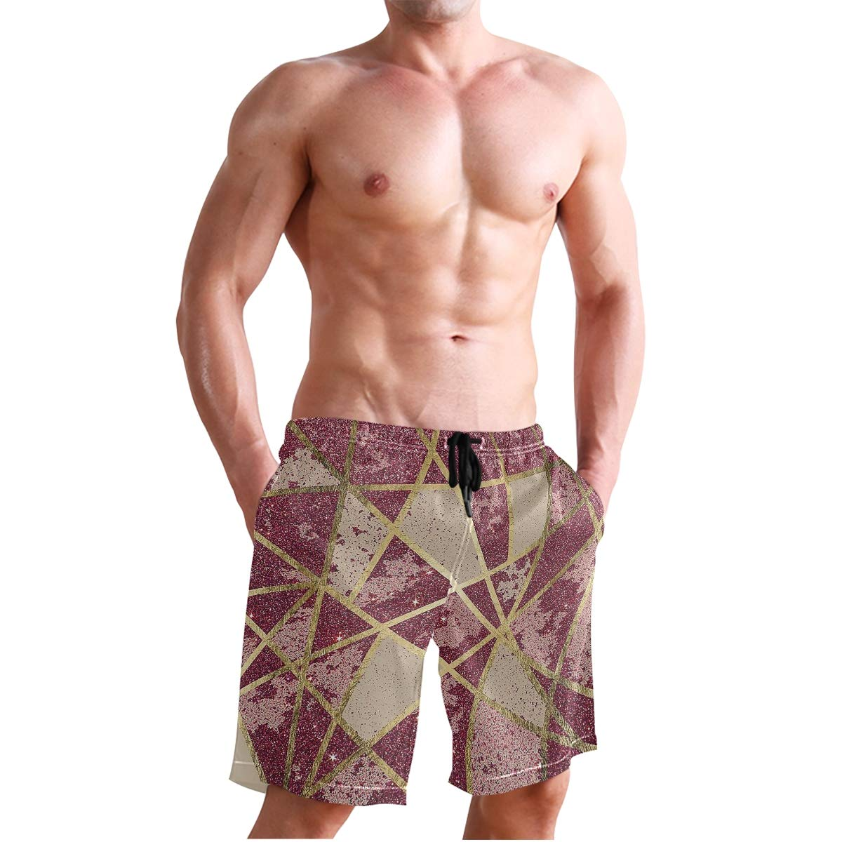 Rustic Chic Burgundy Red Glitter Gold Triangles Mens Swim Trunks Quick Dry Beach Shorts with Mesh Lining