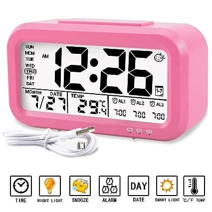 Calendrier Digital.Aiduy Digital Reveil Alarme Horloge Par Prise Usb Lcd Calendrier Digital Grand Chiffre Affichage De Date Et Temperature Ideal Pour Les Enfants