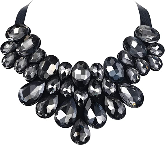 Prom Flyonce 8 Colors Womens Stunning Crystal Costume Statement Necklace Earrings Set for Banquet