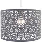 Chandelier Chic Ceiling Light Pendant Shade Crystal Droplet Fitting Easy Fit (Large Metal Shade Dark Grey)